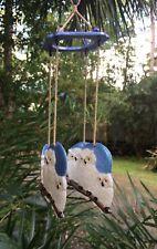 Wind Chimes Owls Custom 4 Pewter Owls Wood Beads Macrame