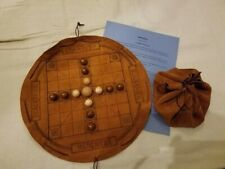 Hnefatafl - Brandub hand-crafted leather game board with wooden balls game pcs