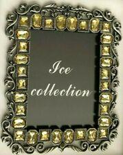 "Great Indoors Silvertone Metal 5X6"" Amber Rhinestone Frame - Holds 3.5X5"" Photo"