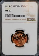 2014 Great Britain Gold Sovereign MS67 NGC BU COIN UK SOV