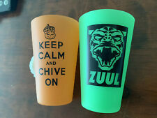 Set Of Two Chive Cups - Glow In The Dark - Green And Orange - Durable - Chivery