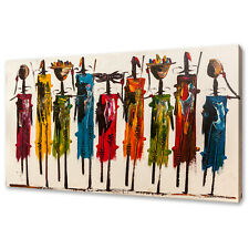 MAASAI KENYAN AFRICA PEOPLE COLOURFUL ABSTRACT CANVAS PRINT WALL ART PICTURE