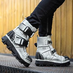 Men Cow Leather Buckle Strap Punk Rock Shoes Motorcycle Combat Ankle Boots Shoes