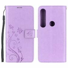 Motorola Moto G8 Play / One Macro Case Wallet Leather Floral Butterfly Purple