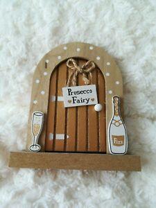 Prosecco Fairy Door Wooden Decorative Ornament