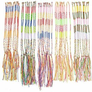 100 Pieces Handmade Braid Friendship Bracelets Colorful Cords Thread, One Size