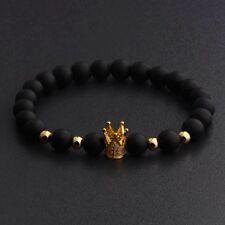 Men Cubic Zircon 24kt Gold Plated Crown Bracelet Bead Macrame Elastic Bracelets