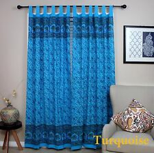 Handmade Paisley Elephant 100% Cotton Tab Top Curtain Drape Panel Blue 44x88