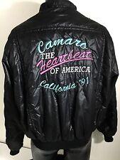 Vtg 1991 King Louie 90's SLICK Black NYLON PUFFER Jacket CAMERO HoT RoD Coat Lg