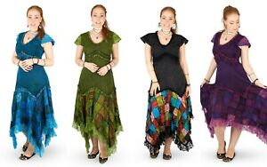 New Cap Sleeve Patchwork Dress Pagan Handfasting Clothes Up To Plus Size