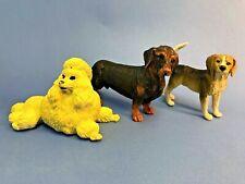 "3 Dog figurines, solid plastic, 2-3"", Dachshund, Beagle, Poodle, 1997"