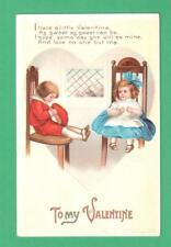 1913 ELLEN CLAPSADDLE VALENTINE'S DAY POSTCARD BOY GIRL CHAIRS WINDOW IN HEART