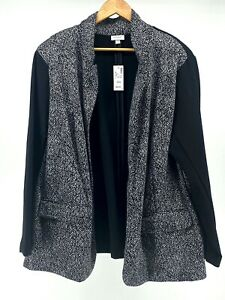 Avenue Size 26/28 NEW Blazer Open Front Black and White (S1052-D18)