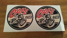 Cafe Racer Riding retro BIKE CAR STICKERS x 2  10x10cm