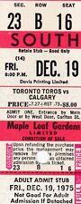 WHA Toronto Toros Calgary Maple Leaf Gardens Full Ticket Toronto Toros RED