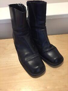 Clarks Ladies Leather Black Boots, UK 5.5 Side Zip, Heel 6cm VGC Made In Italy