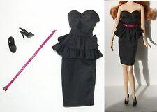 New Barbie Basics 1.5 model 03 Muse little black dress Strapless Pink Belt shoes