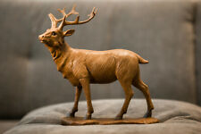 Carved Wooden Standing Stag Statue Rustic Ornament Reindeer Polished Wood Figure