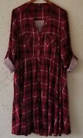 Torrid Womens Fit&Flare Plaid Red Dress Button Front Roll Tab Sleeve Plus Sz1/1X