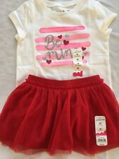 Girls 4T Be Mine Valentine's Outfit  S/S Top Pink Red Tulle Skirt NEW NWT