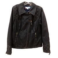 Boden Jacket Moto Canvas Black Asymmetrical Zip Pocket Cuffs Royal Guard Lined 8