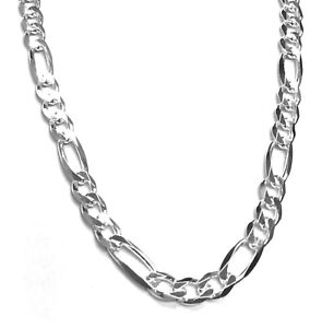 925 Sterling Silver Figaro Chain Necklace 5MM  Made in Italy - Lobster Claw