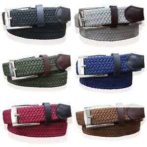 """MENS WEBBING BELTS FAUX LEATHER TRIM LADIES ELASTICATED WOVEN BRAIDED STRETCH 1"""""""
