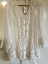 Amita Naithani Ladies Sheer Appliqué Lace Shirt XL New With Tags