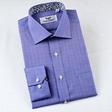 Men's  Blue Formal Business Dress Shirt Twill Plaids & Checks Button Cuff