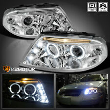 For 2001-2005 VW Passat LED Halo Projector Headlights Chrome Pair