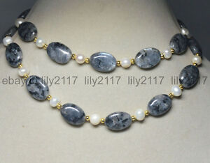 27 Inch Natural 13x18mm Oval Black Gray Labradorite + Real White Pearl Necklace