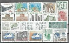SWEDEN, GREAT LOT 19 UN-MOUNTED MINT STAMPS FROM 1970s-1980s..