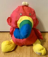 "Vintage Fisher Price Puffalump Toucan Bird Soft 16"" Plush Pink Blue Yellow"