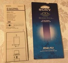 Sony Pc Card Adaptor For Memory Stick Instructions Only