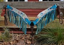 Beautiful Turquoise Rainbow Splash Hide Breast Collar Bright Turquoise Fringe