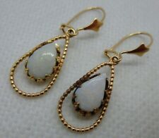 Antique 14k Wire Opal Dangle Drop Earrings