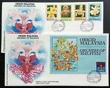 Malaysia 1994 Flowers Orchids 4v Stamps + Mini-Sheet FDC x1 pair (Melaka Chop B)