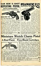 1935 small Print Ad of Pea-Matic Pea Shooter, Miniature Watch Charm Blank Pistol