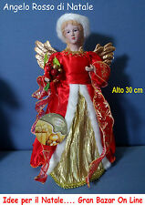 NATALE ANGELO ROSSO 30 cm Allestimento Presepe Decorazione Casa Vetrina Addobbi