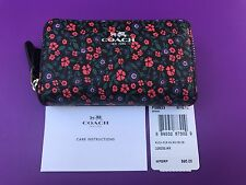 COACH Ranch Floral Small Double Zip Coin Case Card holder Wallet 59833 NWT