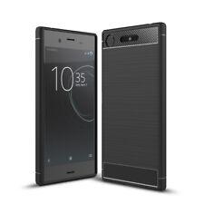 Sony Xperia xz1 Funda móvil Funda TPU carbon fiber motivo protección Cover negro nuevo