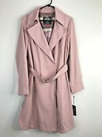 Vince Camuto Belted Crepe Trench Coat Rain Jacket Dusty Pink Size L NWT