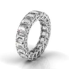9ctw Emerald Diamond Trellis Set Eternity Band 14K White Gold (H-I/Vs2-Si1)