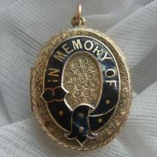 Large Victorian 9ct Gold BF Black Enamel IN MEMORY OF Mourning Locket Pendant