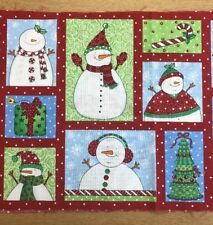 Timeless Treasures - Snowman Christmas Labels - Crafts - Card Making 100% Cotton