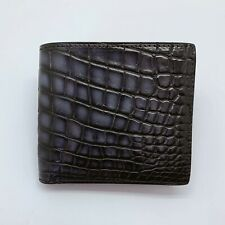 Handmade Patina Crocodile Skin Leather Bifold Wallet Credit Card Free Shipping