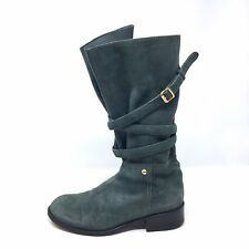 7 For All Mankind Womens 35.5/ 5.5 Suede Mid Calf Boots Buckle Strap Blue-Grey