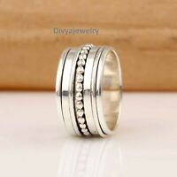 Solid 925 Sterling Silver Spinner Ring Meditation Ring Statement Ring Size RA62