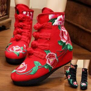 Women's Shoes Chinese Folk Embroidered Canva Wedge Casual Ankle Floral Boots