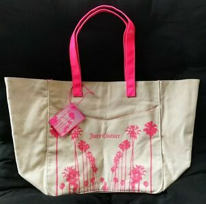 Juicy Couture Canvas Palm Trees Beach Tote Bag   NEW WITH TAGS
